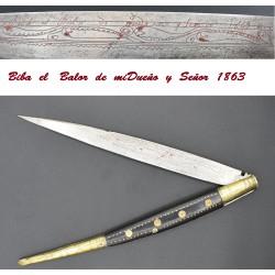 Navaja española con leyenda y fechada 1863