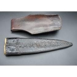 Cuchillo Canario grande y antiguo vaina de cuero con Tahalí