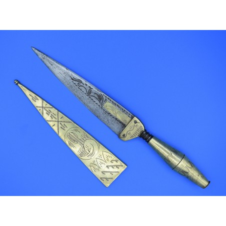 Cuchillo antiguo español siglo XVIII decorado a buril y funda