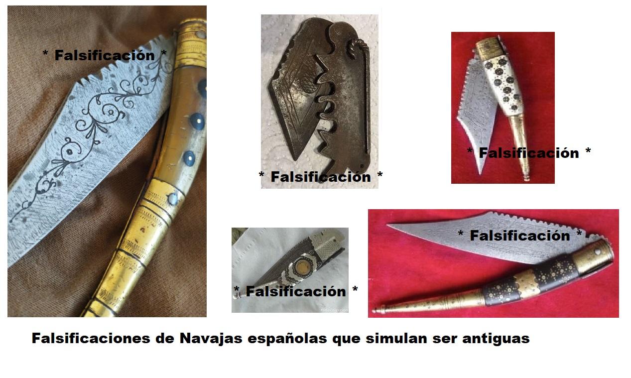 Navajas falsificadas falsas simulando antiguas