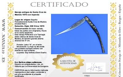certificado autenticidad navaja cuchillo COA
